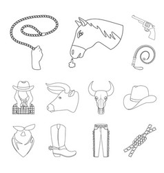 rodeo competition outline icons in set collection vector image