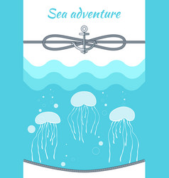 sea adventure blue poster vector image