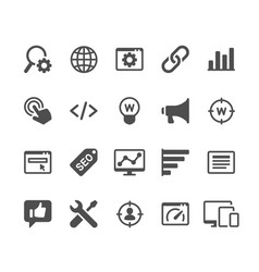 search engine optimization glyph icons vector image