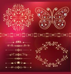 set floral border frame dividers vector image
