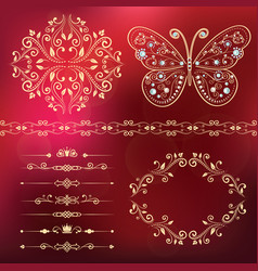 Set of floral border frame dividers vector