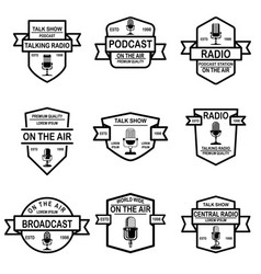 set podcast radio emblems with microphone vector image