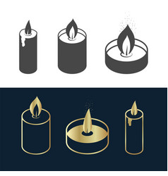 simple candles icon set gold black and white vector image
