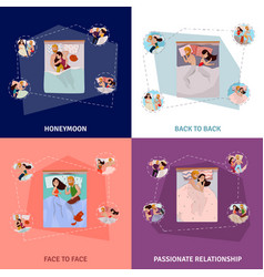 Sleeping poses concept icons set vector
