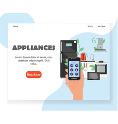 smart kitchen appliances website landing vector image