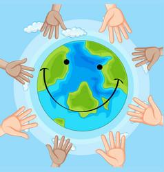 Smile emotion earth icon vector