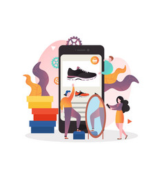 Sneakers mobile app concept for web banner vector