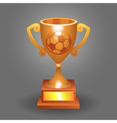 Soccer ball trophy bronze cup bacground vector