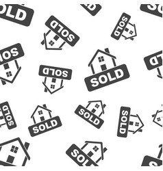 Sold house seamless pattern business concept sold vector
