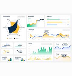 statistics graph template website dashboard vector image