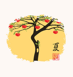 Summer chinese landscape with an apple tree vector