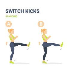 Switch kicks girl home workout exercise guidance vector