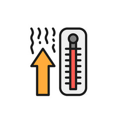 thermometer temperature rise flat color line icon vector image