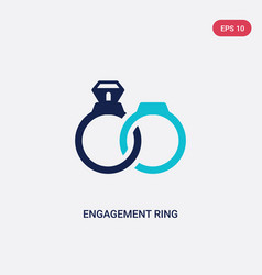 two color engagement ring icon from love wedding vector image