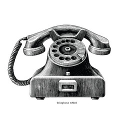 Vintage telephone hand draw clip art isolated vector