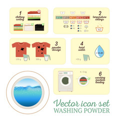 washing powder icon set vector image