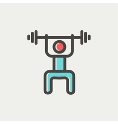 Weightlifter man with barbell thin line icon vector image