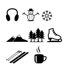 Winter season icons vector