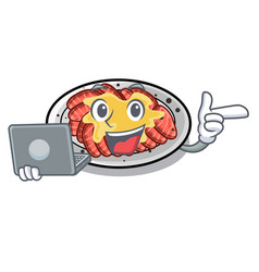 With laptop carpaccio is served on cartoon plates vector