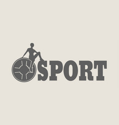 woman silhouette on sport text vector image