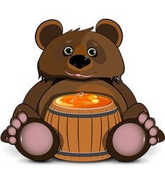 Bear with a Barrel of Honey vector image