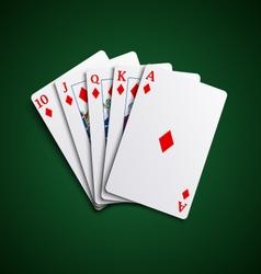 Poker cards flush diamonds hand vector image