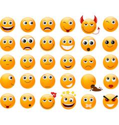 Set of orange smiles vector image vector image