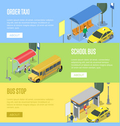 taxi and school bus station isometric 3d posters vector image