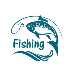 Fishing sport emblem vector