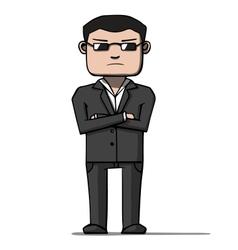 Funny cartoon bodyguard Security vector image vector image