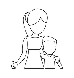mother hugging son lovely outline vector image vector image