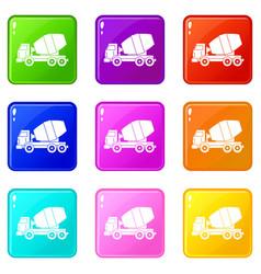 truck concrete mixer set 9 vector image vector image