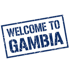 welcome to gambia stamp vector image