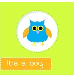 Baby shower card with blue owl Its a boy vector image vector image