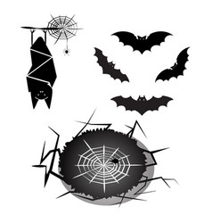 created halloween bat and spider vector image