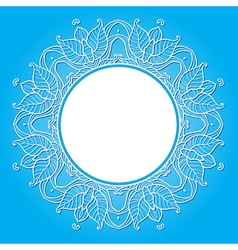 floral frame on a blue background vector image vector image
