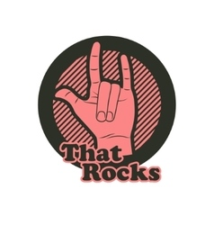 Hand in that rocks sign vector image