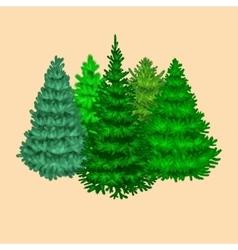 Set of christmas tree like fir or pine Blue vector image