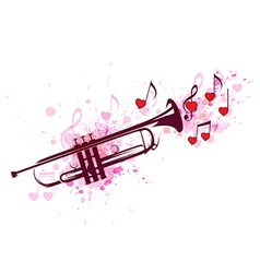 Trumpet notes and red hearts vector image