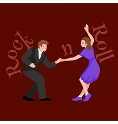 Young couple dancing lindy hop or swing in a vector image