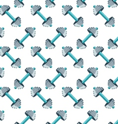 Sports seamless pattern with dumbbells vector image