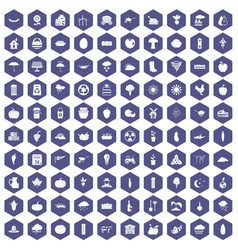 100 pumpkin icons hexagon purple vector