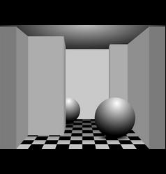A minimalist photorealistic room in perspective vector