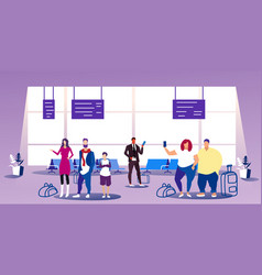 Airport passengers at waiting hall departure vector