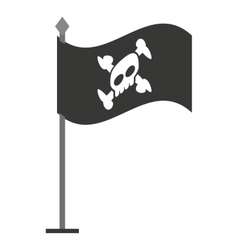 alert skull in flag isolated icon design vector image