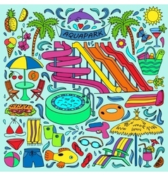 Aquapark colorful doodle set vector image