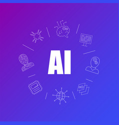 artificial intelligence background from line icon vector image