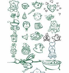 Baby sketches vector