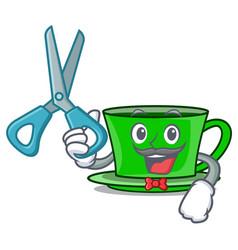 Barber green tea character cartoon vector