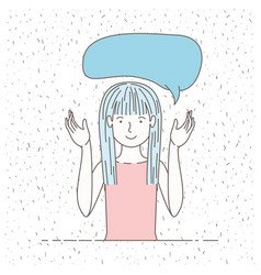 beautiful little girl talking with speech bubble vector image